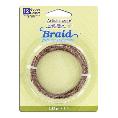 Artistic wire, 12 gauge,2.1mm, braided, antique brass, 5 feet