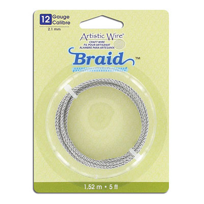 Artistic wire, 12 gauge (2.1mm), braided, 5 feet, stainless steel