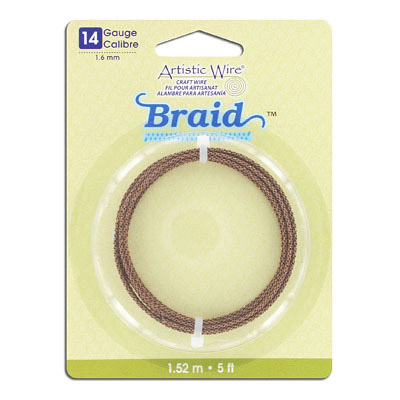 Artistic wire, 14 gauge, 1.6mm, braided, antique brass, 5 feet