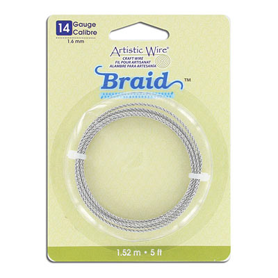 Artistic wire, 14 gauge (1.6mm), braided, 5 feet, stainless steel