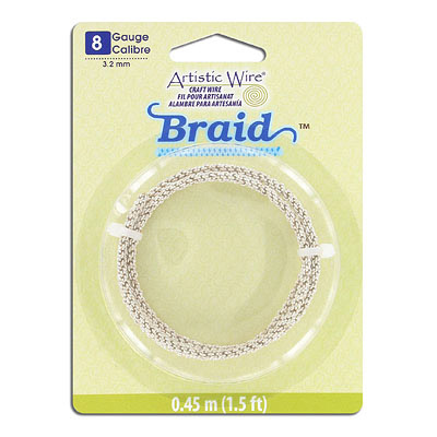 Artistic wire, 8 gauge, 3.2mm, braided, silver, 1.5 feet