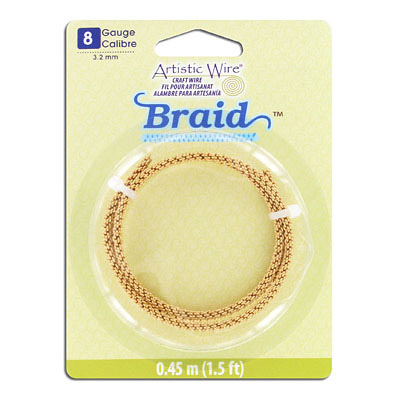 Artistic wire, 8 gauge, 3.2mm, braided, non-tarnish brass, 1.5 feet