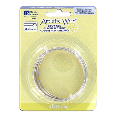 Artistic wire, 16 gauge (1.3mm), hexagonal, silver plate, 6 feet