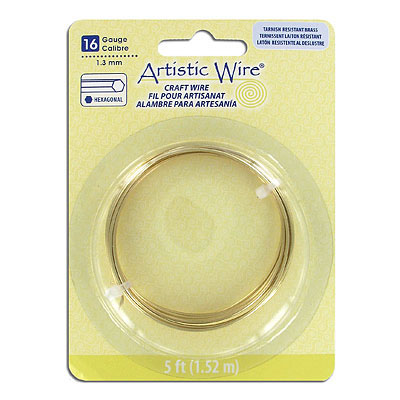 Artistic wire, 16 gauge (1.3mm), hexagonal, tarnish resistant brass, 5 feet