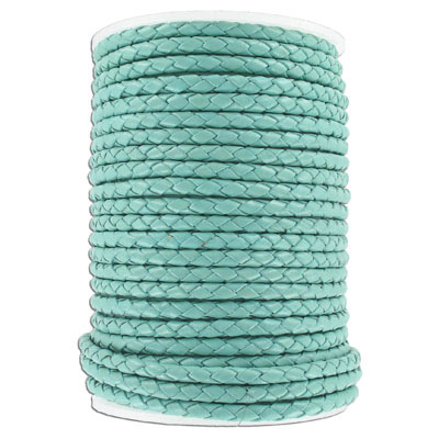 Braided leather cord, 4mm, turquoise, 25 meters