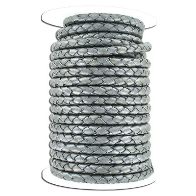 Braided leather cord, 5mm, grey, 10 meters