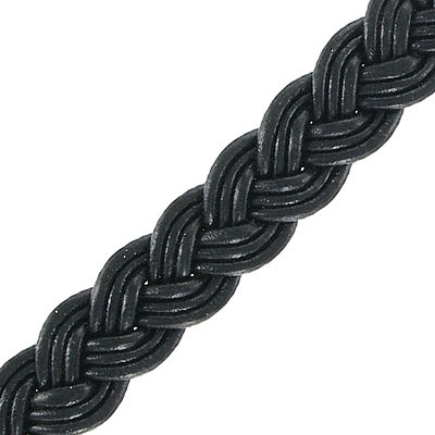 Flat braided cord, 12mm wide, black