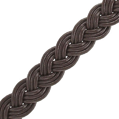 Flat braided cord 12mm wide brown, 5 meters