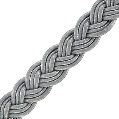 Flat braided cord 12mm wide, grey, 5 meters