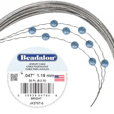 Beadalon tigertail, stainless steel cable .045, 30ft.