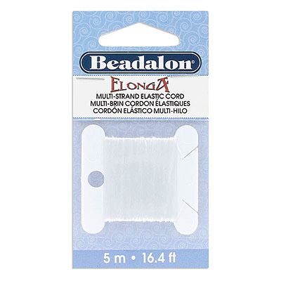 Elonga multi-strand elastic stretch cord, 0.3mm, white, 5 metres each pack