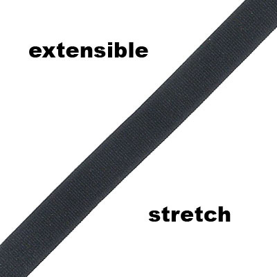 Elastic ribbon, 10mm, satin, flat, black, 10 meters