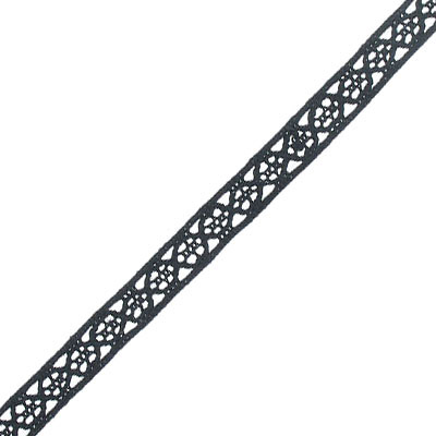 Flat lace ribbon, polyester, 10mm width, black, 10 yards