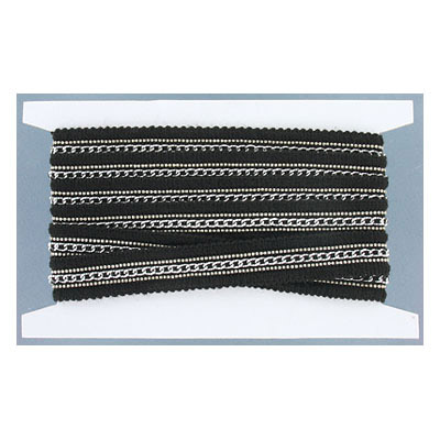 Flat ribbon, polyester, 20mm width, black with silver chain, 2 yards