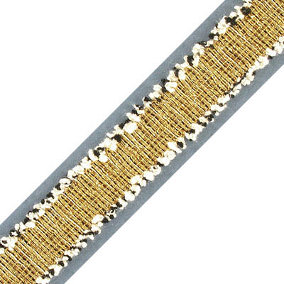 Flat ribbon, polyester, 20mm width, with gold metallic thread, 2 yards