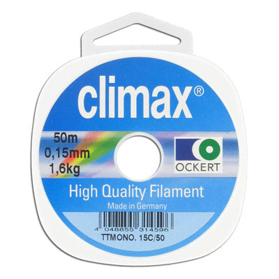 Climax monofilament, clear, 0.15mm, 50 meters spools. Pound test 3lb
