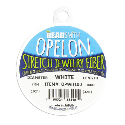 Opelon stretch jewelry fiber cord, 0.7mm, white, 100 metres