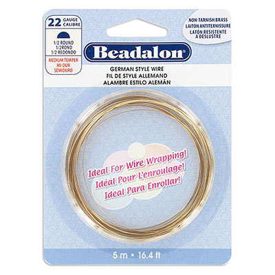German wire, medium temper, half-round, 22 gauge, brass, non-tarnished, 5 metres