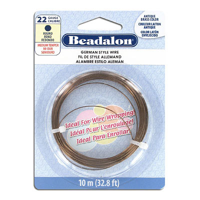 German wire, medium temper, round, 22 gauge, antique brass color, 10 meters