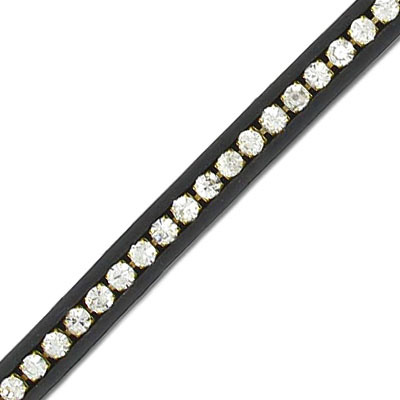 Cord with crystals, 5mm, black, 5 meters