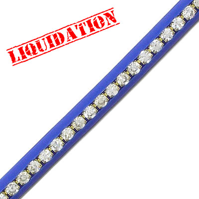 Cord with crystals, 5mm, royal blue, approx. 4 meters