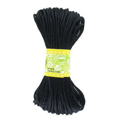 Cord rattail, 3mm, black, 6x20 yards bundle (120 yards)