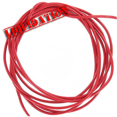 Leather strip, 5 pieces 2 yards length each, 2mm diameter red