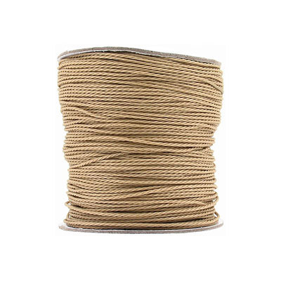 Braided cord, 1mm, synthetic, polyester, beige, 100 metres