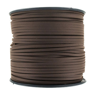 Flat synthetic leather, 2.5mm x 1.5mm, dark brown, 100 yards