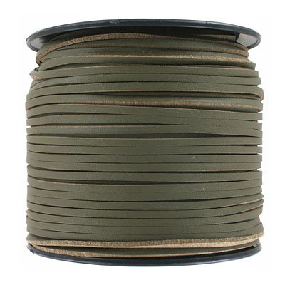 Flat synthetic leather, 2.5x1.5mm, khaki, 100 yards