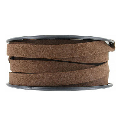 Ultra suede, flat, 10x1.3mm, brown, 10 meters