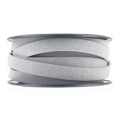 Ultra suede, flat, 10x1.3mm, light grey, 10 meters