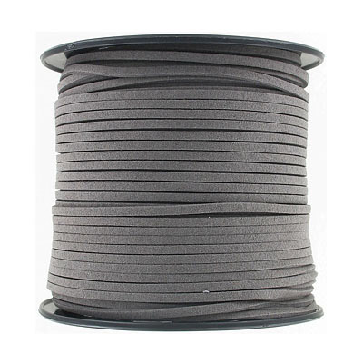 Ultra suede, 2.5mm x 1.5mm, flat, 100 yards, dark grey