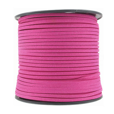 Ultra suede, 2.5mm x 1.5mm, flat, 100 yards, fuchsia