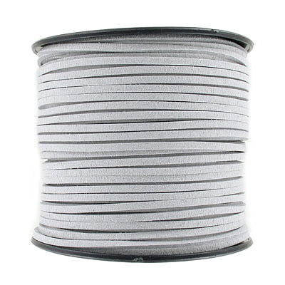 Ultra suede, 2.5mm x 1.5mm, flat, 100 yards, light grey