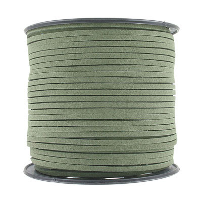 Ultra suede, 2.5mm x 1.5mm, flat, 100 yards, moss