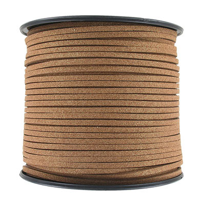 Ultra suede, 2.5mm x 1.5mm, flat, 100 yards, metallic brass