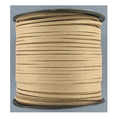 Ultra suede, 2.5mm x 1.5mm, flat, 100 yards, metallic gold