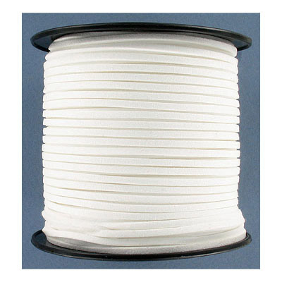 Ultra suede, 2.5mm x 1.5mm, flat, 100 yards, white