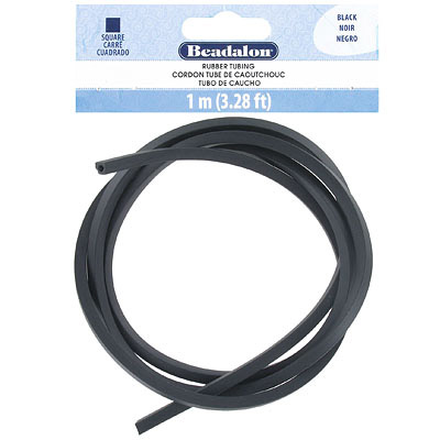 Square rubber tubing, 4x4mm, black, 1 meter