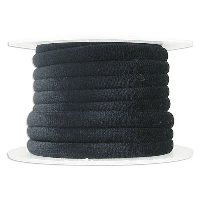 Round velour cord, 7mm, black, 5 metres