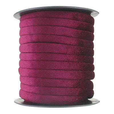Round velour cord, 7mm, burgundy, 10 metres