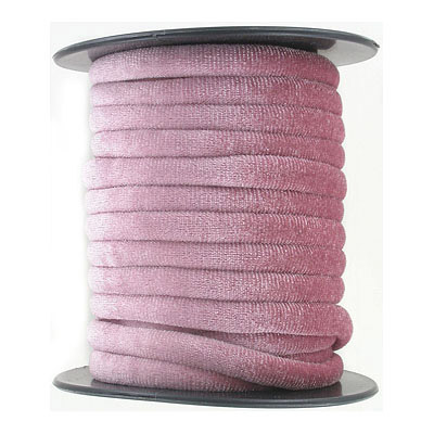 Round velour cord, 7mm, vintage rose, 10 metres