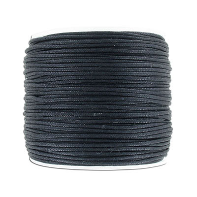 Waxed cotton cord, 1.5mm, black, 100 meters