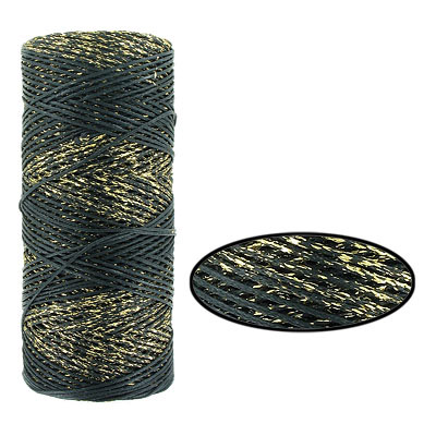 Waxed cotton cord, 1mm, black and gold, metallic, 100 meters. Made in Europe