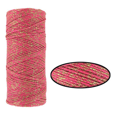 Waxed cotton cord, 1mm, fuchsia and gold, metallic, 100 meters. Made in Europe