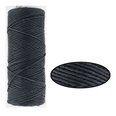 Waxed cotton cord, 1mm, black, metallic, 100 meters. Made in Europe