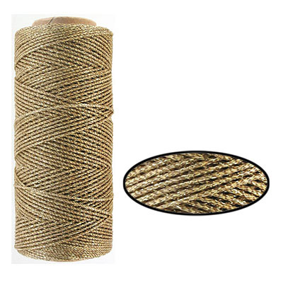 Waxed cotton cord, 1mm, gold, metallic, 100 meters. Made in Europe