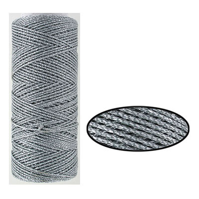 Waxed cotton cord, 1mm, silver, metallic, 100 meters. Made in Europe
