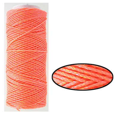Waxed cotton cord, 1mm, salmon iris, metallic, 100 meters. Made in Europe